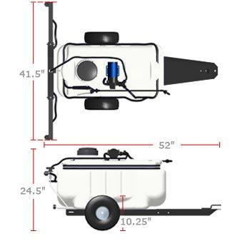 pull behind garden sprayer dimensions