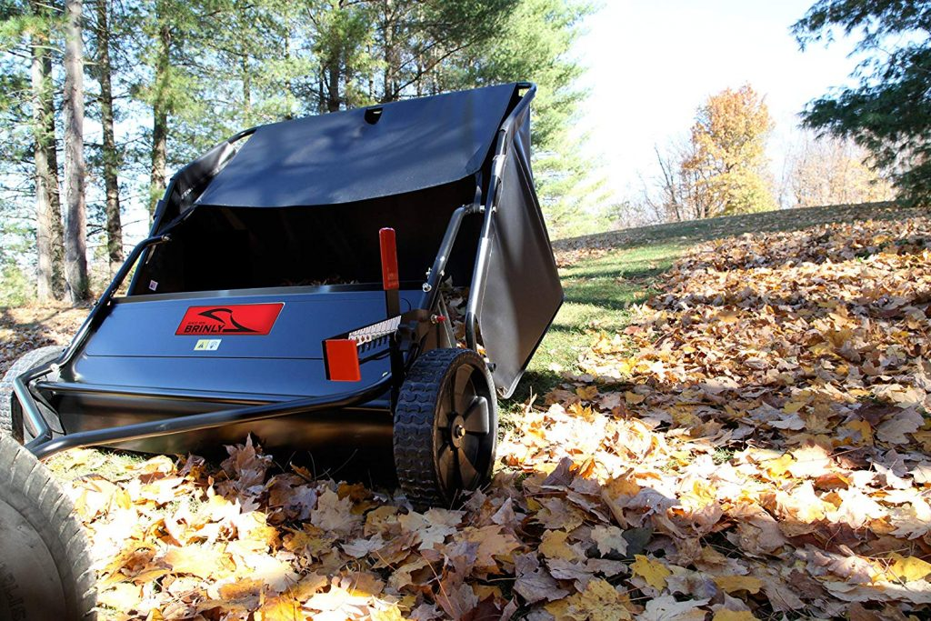 leaf pick up with lawn sweeper attachment