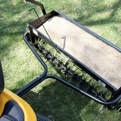 aerator spreader hopper full of grass seed