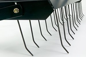 flexible steel tines close up