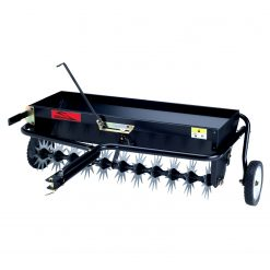 brinly tow behind aerator spreader facing left