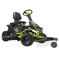 ryobi electric mower with front mount dethatcher