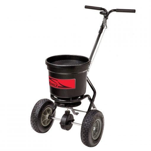 brinly push fertilizer spreader facing left