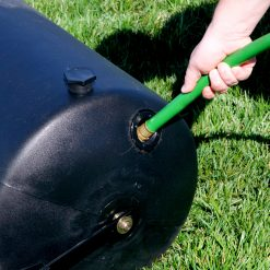 Brinly 28 gallon roller filled with hose