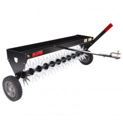 brinly spike aerator with wheels facing right