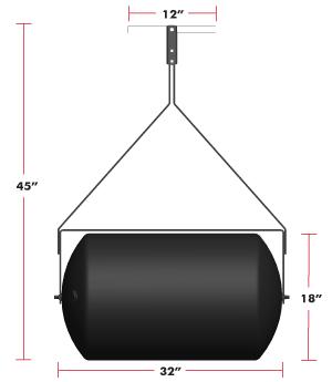 28 gallon push tow sod roller dimensions