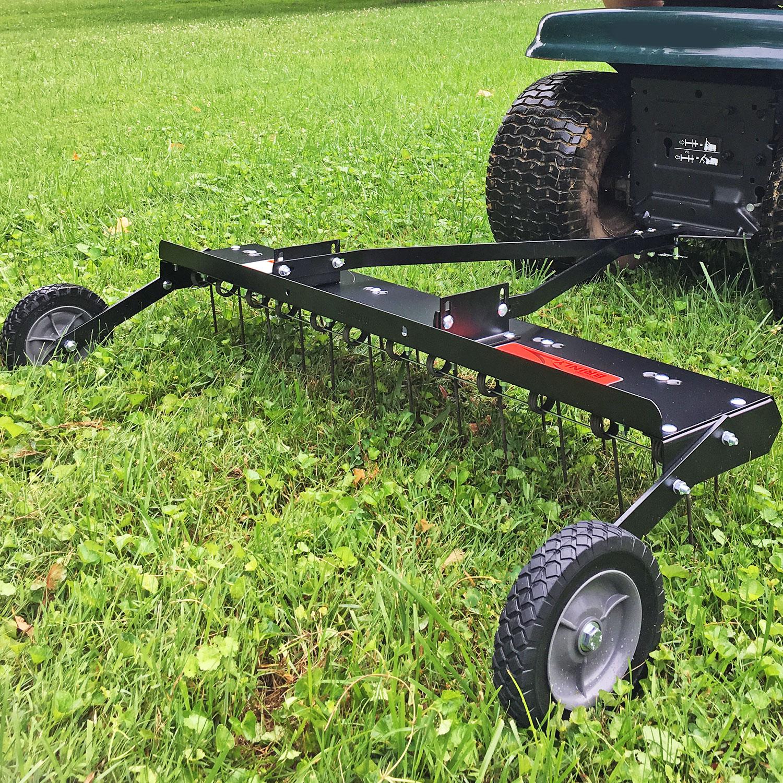 Dethatcher Tow-Behind 48 Inch Garden Riding Lawn Tractor Attachment Adjustable